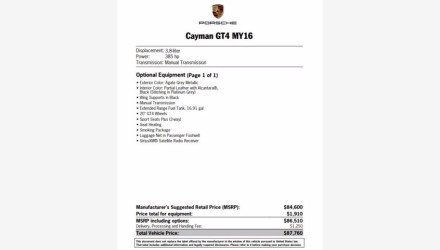 2016 Porsche Cayman GT4 for sale 101427085